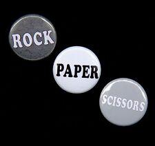3 ROCK PAPER SCISSORS Novelty Pinbacks Buttons Badges 1 inch
