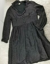 J.Crew black white polka dot silk fit and flare midi dress SIZE 10 blouse top (B