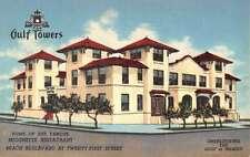 Laguna Vista Texas Gulf Towers Street View Linen Antique Postcard K20956
