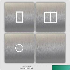 Brushed Aluminium Silver UK Light Switch Stickers, Living Room Bedroom Nursery
