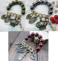 B13 Betsey Johnson Medieval Green Red Grey Beaded Crown Key Locket Bracelet US