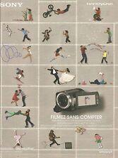 publicité advertising  SONY  nouveau camescope disque dur