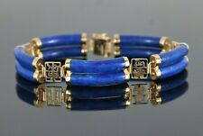14K Yellow Gold Blue Lapis Chinese Symbol Happy Healthy Relax Long Life Bracelet