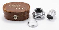 (49) Canon RF 28/3.5 lens E39 Canon Nikon Leica, caps case 28mm finder pristine