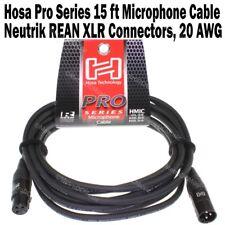 Hosa Pro Series 15 ft XLR Microphone Cable Neutrik REAN Connectors HMIC-015