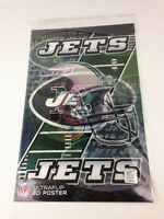 """NFL Football Ultraflip Holographic 3D Double Image Poster NEW YORK JETS 17""""x11"""""""