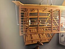 Chinese Bamboo Bird Cage With Birds And Porcelain Feeders