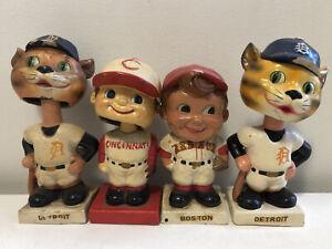 4 Vintage Baseball BOBBLEHEAD Nodder 1960s Detroit Tigers Boston Red Sox Lot