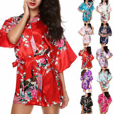 Floral Bride Bridesmaid  Robe Kimono Dress Gown Chinese Style Silk Satin Robe