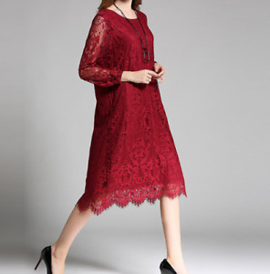 Womens Hollow Long Sleeved Lace Dress Plus Round Collar Casual 3Color Sweet Maxi