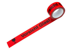 "* Packband PP 50 mm x 66 m rot/schwarz ""Vorsicht Glas"" Paketband Warnband Band"