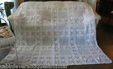 Vintage White Acrylic Crochet Wagon Wheel Bedspread Afghan King Queen 84x100