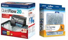 Aqueon Quiet Flow 20 Aquarium Power Filter W/ 3 Extra Cartridges. 125 Gph.