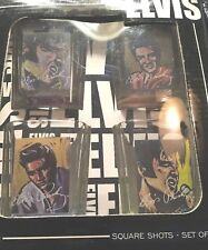 New listing Elvis Square glass Shot Glasses! Set of 4 New in Package! Artistic look Elvis!