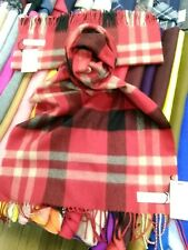 100% Lambswool Wide Scarf   Lochcarron   Made in Scotland   Red Asymmetric Stole