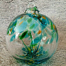 """Hanging Glass Ball 4"""" Diameter """"Spring Tree"""" Witch Ball (1) WB38"""