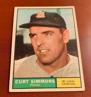 1961 Topps # 11 Curt Simmons Baseball Card St. Louis Cardinals