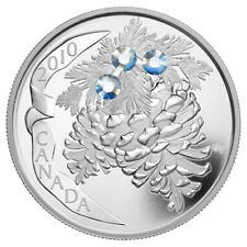 Canada 2010 Holiday Pinecone MOONLIGHT Swarovski Crystal $20 Silver Proof in OGP