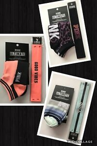 Victoria's Secret PINK Ultimate No show Socks & Headband  Set NWT black