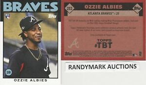 Ozzie Albies BRAVES TOPPS 2018 THROWBACK 1986 BASEBALL DESIGN TBT 203 SP RC