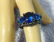 Blue Sapphire Goth Vampire Ring 10KT Black Gold Filled Jewelry Womens sz 6 R39