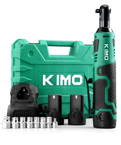 """KIMO Cordless Electric Ratchet Wrench 3/8"""" 40 Ft-lbs 400 RPM 12V Power 2 Battery"""