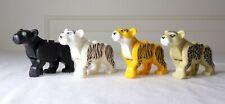 PANTHER, WHITE TIGER, TIGER, CHEETAH Animal Minifigures Set of 4 Jungle Zoo Cats