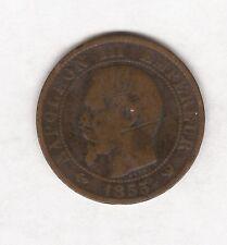 1855 francés Napoleón III durante cinco céntimos Moneda