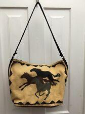 """El Paso Saddle Blanket Southwestern Horses Tote Shoulder Bag Cotton 16"""" x 11"""""""