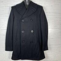 VTG 1960's US NAVY MILITARY Black Heavy Wool Kersey Peacoat Jacket MNs 38 L USA