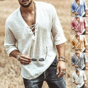 Mens/Mens Beach T Shirt Long Sleeve Loose Hippies Fancy Dress Cotton Blouse