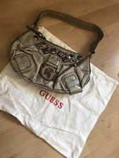 Guess Handbag Embellished Metallic Pewter Gold Snake Print
