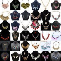 Fashion Womens Crystal Rhinestone Bib Choker Pendant Statement Chunky Necklace