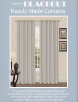 Thermal Ring Top Eyelet Blackout Pair Curtains Ready Made Free Tiebacks Silver