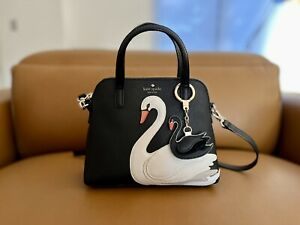Kate Spade On Pointe Swan Small Maise Satchel Bag With Crossbody Strap & Keyring