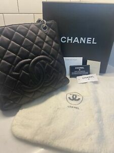 Chanel Petit Shopping Tote PST - Black Caviar Leather - Silver Hardware - A20994