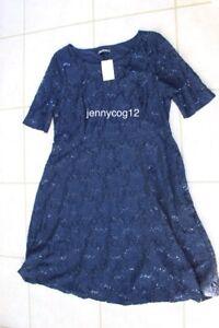 Bon Marche Signature Ladies ANTIQUE OPULENCE Navy Lace Sequin Evening Dress 20