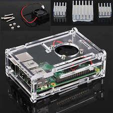 Clear Case Enclosure Box + Cooling Fan +Heatsink For Raspberry Pi B+/2/3 Model B