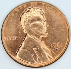 1961-D Lincoln Memorial One Cent Copper Penny 1¢ ERROR. DOTS AT DATE. BU RED