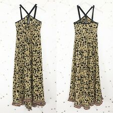 Plenty Tracy Reese Dress Size 4 Black Brown Geometric Print Halter Pleated Hem