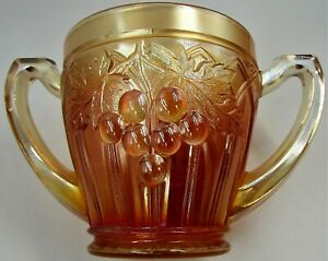 Antique Northwood Marigold Grape & Gothic Arches Carnival Glass Open Sugar 2 Hdl