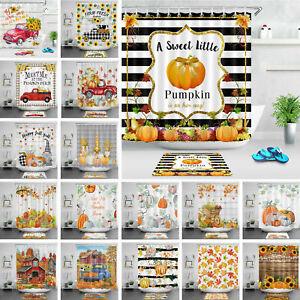 Autumn Shower Curtain Farmhouse Truck Pumpkin Gnomes Bathroom Accessory Sets