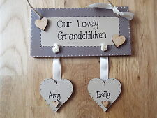 Wooden Grandchildren sign plaque 2 HEARTS  Grandparents gift Family sign