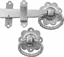 Traditional Twisted Ring Gate Latch Catch - Silver Rust Resistant Zinc Plate