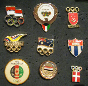 Nifty 9 Olympic NOC Team Set pins Indo Kuw Sing Cuba Colo Den Yem Afghan Austra
