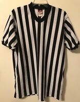 Short Sleeve Referee / Umpire Shirt Black White Stripe Large Whistle Loop
