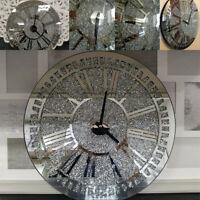 Large Crystal Crushed Round Mirrored Roman Wall Clock Jewel Diamante 40 x 40cm