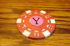""" Y "" Monogram Dice design Poker Chip,Golf Ball Marker,Card Guard Red/White"