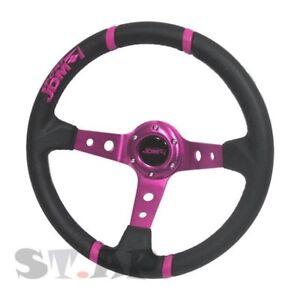 Jdmsport Deep Dish 350Mm 100% Leather Steering Wheel Fit 6 Bolt Hub Purple/Black