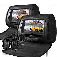 "XTRONS HD705 Black 2x 7"" Car Dual Monitor 2 Headrest Pillow DVD Player FM USB SD"